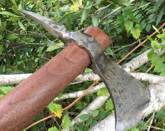 Custom forged spike tomahawk, walnut handle, Forged Axe, boarding axe