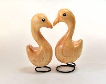 Wife Gift 2 Love Birds Wood Carvings Husband Christmas Gift Animal Sculpture Best Friend Gift for Mom or Grandma Wooden Birds