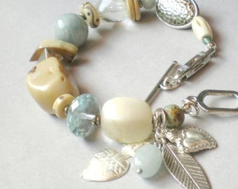 ON SALE Chunky Boho Aquamarine.. Milagro Blessing Bracelet. Perfect GIFT . Statement Bracelet. Frida Kahlo Collection.