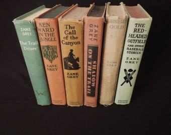 Old Books - Instant Library - Clay Green Zane Grey Book Collection - Mixed Muted Colors - Worn Rustic Books for Decor