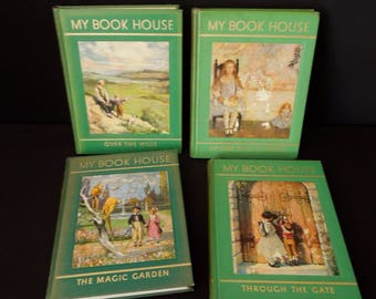 My Book House for Children's - Vintage Green Decorative Cover Books - Kid's Child's Storybooks - 1950's - Literary Gift - Illustrated Books