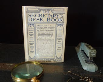 The Secretary's Desk Book Vintage 1933 Edition - Original Dust Jacket - Prop Display Gift - 1930's Modern Guide Secretarial Use