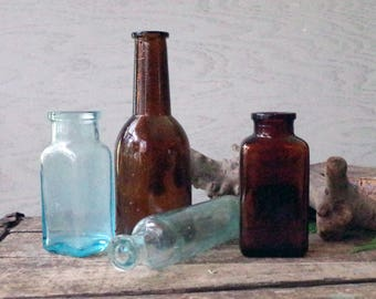 Vintage Glass Medicine Bottle Collection Lot of 4 - Old Bottles - Aqua & Amber Glass Antique Bottles