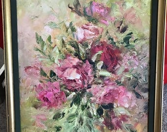 GORGEOUS Vintage Floral Painting Light Pink to Bright Pink Roses Signed E. Frost Andrews Original Great Texture FREE Ship