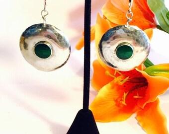 CIJ SALE Christmas JULY Beautiful Modern Midcentury Hammered Disk Sterling Silver Green Malachite Vintage Earrings