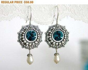 20% OFF - CIJ SALE Mother of the bride earrings, Mother of the bride jewelry, Mother earrings, Blue and silver earrings, Blue dangle