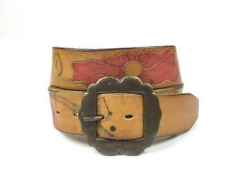 Vintage Tooled Leather Painted Flowers Belt 60's 70's Weathered