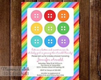 on sale rainbow cute as a button baby shower invitation printable invitation design