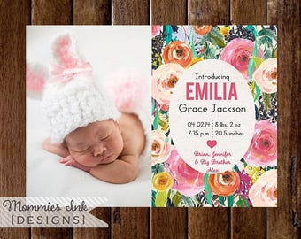 20% OFF SALE Watercolor Birth Announcement, Watercolor Flowers Announcement, Floral Announcement, Baby Announcement, DIY, Spring Flowers