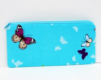 Zippered Pencil Pouch, Butterfly Sky, Turquoise Blue  Zipper Pouch