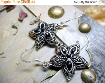 gothic sea stars Black Rhinestone Studded Tribal Starfish Earrings. Antiqued Silver Sea Stars.