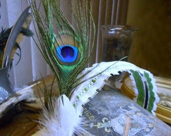 Spell Bound. Flapper Style Boho Headband Willow Green & White Ribbon, with Genuine peacock and white turkey feathers. Oval Peacock medallion