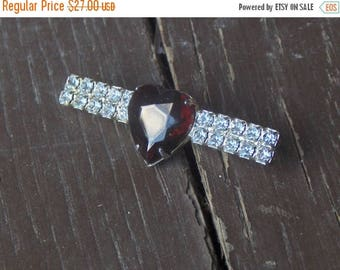 SALE Valentine's Day Gift Vintage Baroque Ruby Red Crystal Heart Glass and Clear Rhinestone sweater brooch art deco