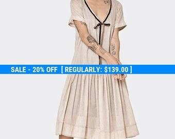 Beige floral Omega dress - short sleeve dress- frill knee length dress- loose tunic- cotton dress- loose top - sexy dress- oversize dress