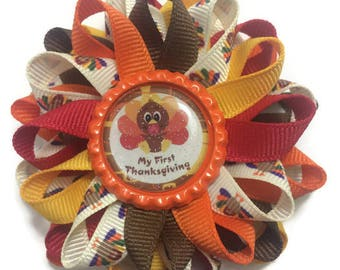 First Thanksgiving Bow, Turkey Hair Bow, Bottle Cap Hair Bow, No Slip Hair Bow, Hair Bow Clip, Handmade Hair Bow, Gifts for Her, Accessories