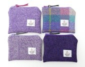 Purple HARRIS TWEED coin purse , change purse , handmade , British shop