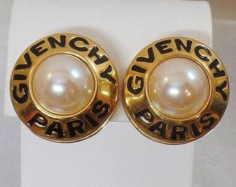 SALE Vintage Rare Givenchy Paris Pearl Earrings.  Large Mabe Pearl Givenchy Paris Signed Earrings.