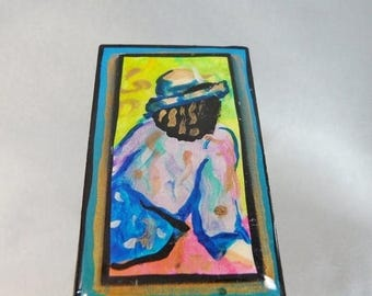 SALE Vintage Abstract Art Brooch Portrait Pinks, Blues, Greens. Gilt. Aqua.