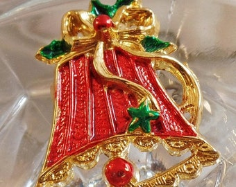 SUPER SALE Vintage Red Bell Brooch. Red Green Gold Christmas Bell Pin. Holiday Bell Brooch.