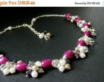 SUMMER SALE Fuchsia Statement Necklace. Cluster Necklace. Fuchsia Necklace. Pearl Necklace. Amethyst Necklace. Beaded Necklace. Handmade Nec