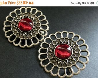 BACK to SCHOOL SALE Two (2) Viking Shoulder Brooches. Bright Red Glass and Aged Silver Brooch Set. Norse Brooches. Viking Jewelry Historical