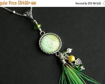 BACK to SCHOOL SALE Neon Green Feather Tassel Necklace. Mandala Necklace. Green Necklace. Yellow Necklace. Green Tassel Necklace. Feather Ne