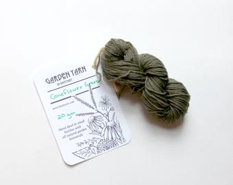 Plant Dyed Mini Skein 20gm, Green Superwash Sock Yarn, Small Batch Dyed Fingering Weight Yarn, Hand Dyed, Merino Natural Dye, Flower Dyed