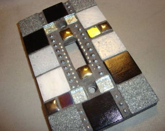 MOSAIC Light Switch Plate -  Single Switch, Wall Plate, Wall Art, Gray, Black, Silver, Gold