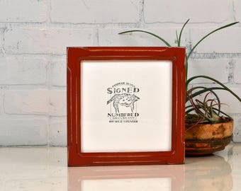 """7x7"""" Square Picture Frame in Shallow Bones Style with Vintage Brick Red Finish - IN STOCK - Same Day Shipping - 7x7 Photo Frame Red"""