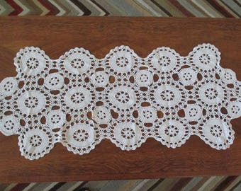 Vintage Crochet Table Runner White Lace Cotton