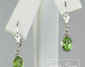 CIJ SALE Peridot Sterling Silver Leverbacks 7x5mm 1.60ctw Natural Untreated