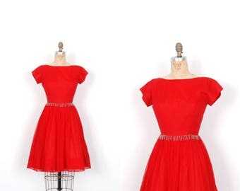 MEMORIAL WEEKEND SALE... Vintage 1950s Dress / 50s Red Chiffon Party Dress / Full Skirt (small S)