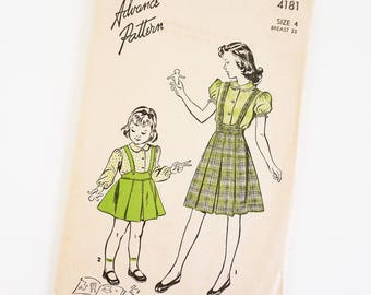 HTF Vintage 1940s Girls Size 4 Blouse and Suspsender Skirt Advance Sewing Pattern 4181 Complete / b23 w21 / Short Long Sleeve