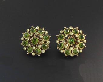 Green Rhinestone Earrings, Green Earrings, Round Earrings, Rhinestone Earrings, Faux Peridot Earrings