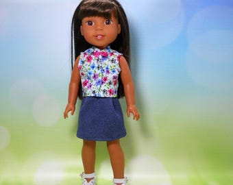 14.5 inch doll clothing, 14 inch doll clothes, Clothes for Wellie Wishers, READY TO SHIP, Flower Top and Denim Knit Skirt, 05-2094