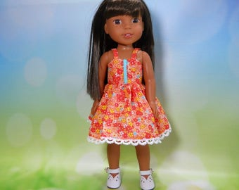 Designed for 14.5 inch dolls such as Wellie Wishers, Orange Flower Dress, 05-2097