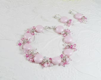 Cluster Bracelet Set Wire Wrapped Pink Coin Pearl Gifts for Her