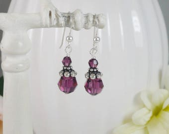 Amethyst Crystal Earrings Swarovski Sterling Silver Filigree Gifts for Her