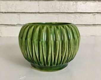 Vintage Emerald Green Ceramic USA Pottery Planter Dish Bowl