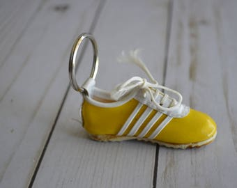 Vintage Tennis Shoe Keychain Yellow Sneaker Lace Up Keychain