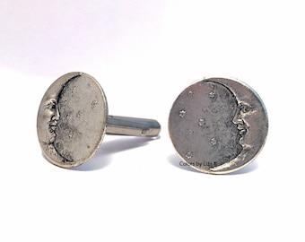 Moon Man Cufflinks Antique Silver Celestial Inspired Disc Shaped Cuff Links