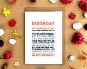 Birthday at Christmas Greeting Card, christmas birthday card, December birthday, free shipping in UK