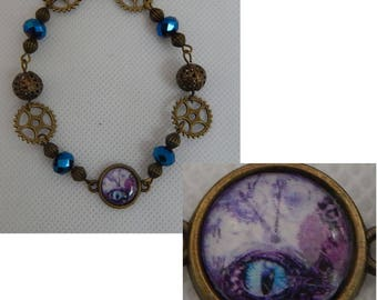 Steampunk Dragon Eye & Gears Link Bracelet Jewelry Handmade NEW Fashion Gold Cosplay Fashion Accessories