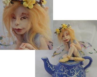 Tilly OOAK Fairy with Teapot Fairies Art Doll Figurine NEW Polymer Clay Fantasy Decor