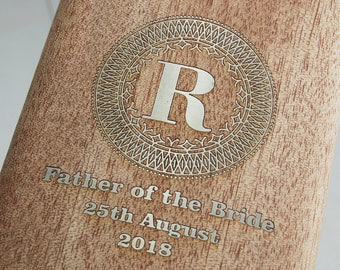 Personalised Hip Flask ~Beautiful walnut wood veneer on a High Quality Stainless Steel Case ~ Engraved with a message for your Wedding Party
