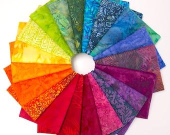 Rainbow Batiks - Fat Quarter Fabric Bundle - 20 batiks