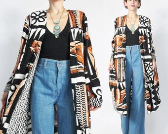 25% off Summer SALE Tribal Print Kimono Jacket Long Draped Jacket Abstract Print Rayon Kimono Pockets Boho Matching Outfit Set African Long