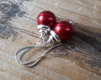 Party Time Red Pearl Drops   Bright Silver & Rich Red Glass Pearl Earrings   Simple Classic Holiday Dangles