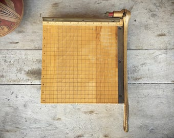 1950s Ingento 10 x 10 Paper Cutter, Vintage Office Small Paper Cutter, Industrial Decor