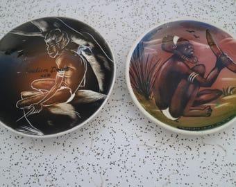 pair of 1950s vintage souvenir ceramic dishes
